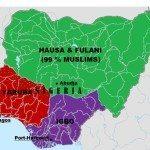 Peta Nigeria (46% Kristen, 52%Muslim)
