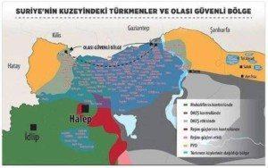warna kuning: wilayah Kurdi, warna biru di antara keduanya: Turkmen