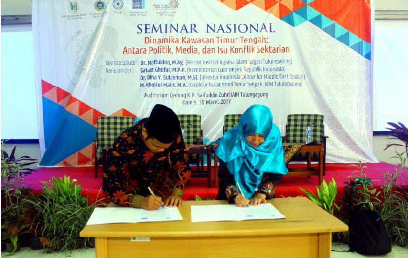 Penandatanganan MoU oleh Direktur ICMES dan Dekan Fakultas Ushuluddin, Adab, dan Dakwah / Pusat Studi Timur Tengah, IAIN Tulungagung