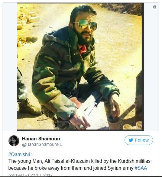Pemuda bernama Ali Faisal al-Khuzaim dibunuh oleh milisi Kurdi karena bergabung dengan SAA.