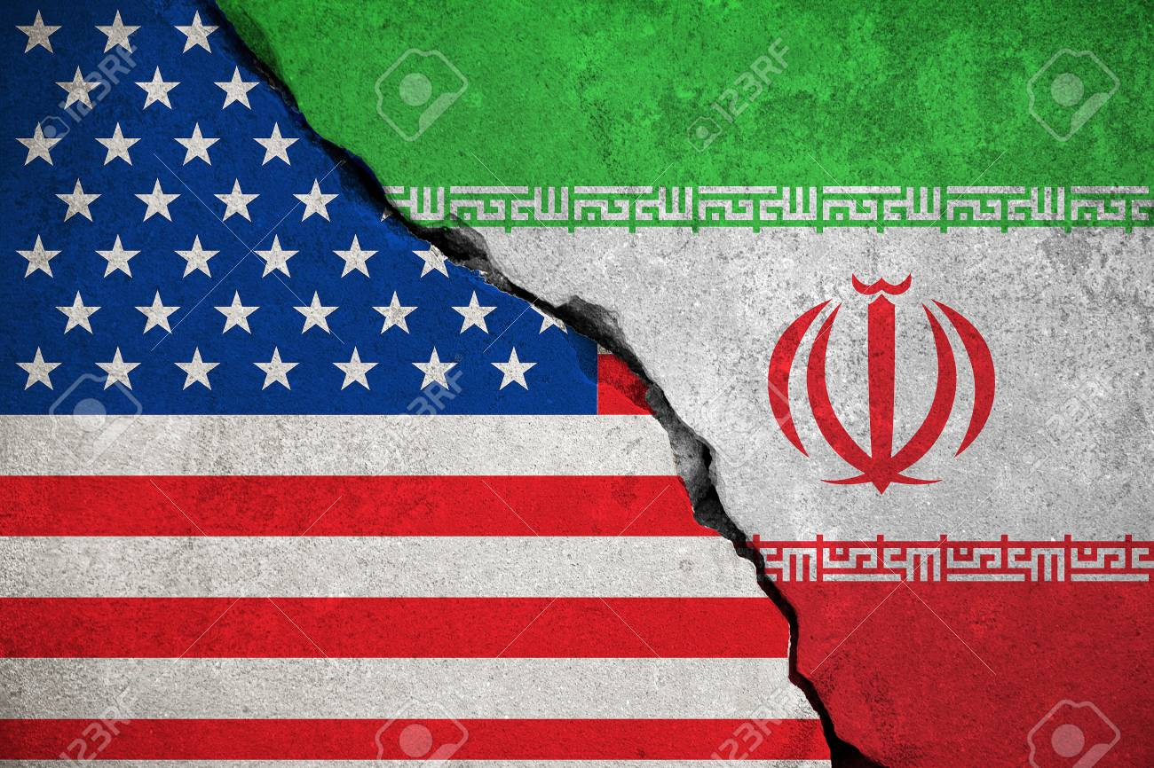 iranian flag on broken wall and half usa united states of americ